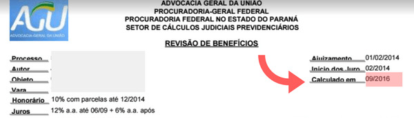 data do calculo na liquidacao do INSS
