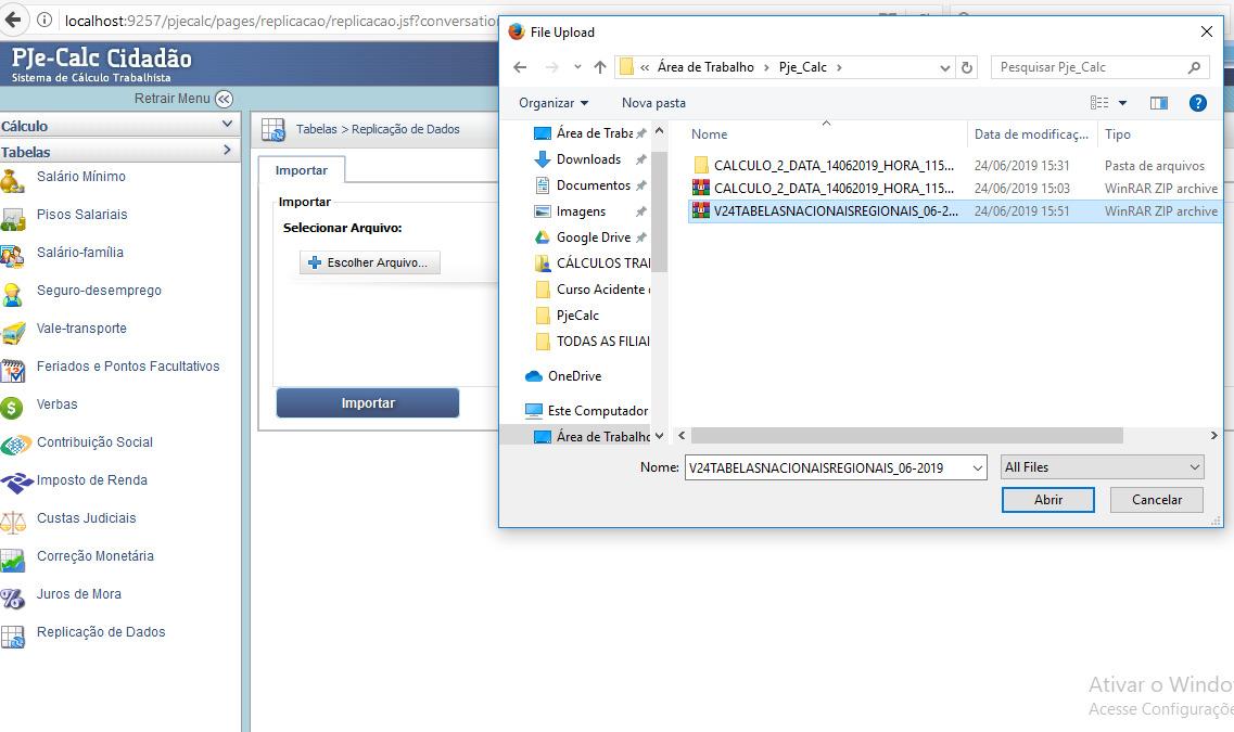 Tela para selecionar os arquivos de tabelas